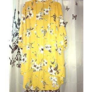 Fashion Nova Floral Print Ruffle Sleeve Kimono
